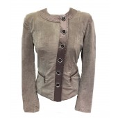 Airfield - Berry-Jacket Vest in Taupe fluweel