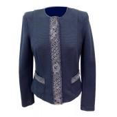 Airfield - Pula-jacket Jeans blauwe vest met kanten boord.