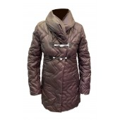Airfield - enjoy-coat warme donsjas in aubergine kleur