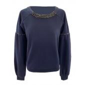Koralline - AII18-315 Sweater donker blauw met zwarte stenen.