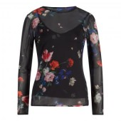 Ted Baker - Tilliyy voile shirt zwart met bloemen