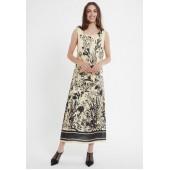 Ana Alcazar - 048284-3026 Lang kleed beige zwart bloemen