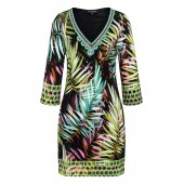Ana Alcazar - 047057-2714 Kleed zwart jungle print V-hals