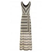 Ana Alcazar - 047778-2905 Lange kleed Missoni stijl zwart, wit goud.