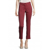 Betty Barclay - 5413 2512 4883 broek rood blauw wit geometrisch patroon.