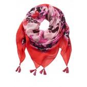 Betty Barclay - 4015 2265 4825 Sjaal vierkant rood roze bloemen met kwastjes