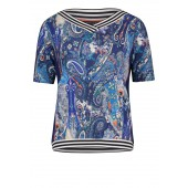 Betty Barclay - 20711324 8880 T-shirt blauwe print V-hals