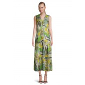 Betty Barclay - 1541 2180 Maxi dress palm print groen geel beige