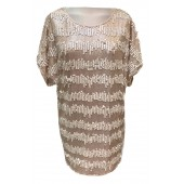 Dexters - DR155G Tuniek kleed beige goud pailletten