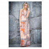 Dry Lake - Orange summer sky - Max long dress