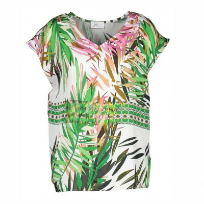 Heart Mind - R_Bake - Losse top palm fuxia print