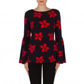 Joseph Ribkoff -  182562 Shirt donker blauw rode bloemen