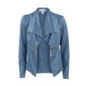 Joseph Ribkoff - 153496 jacket - Vest in alcantara blauw