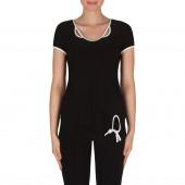 Joseph Ribkoff - 182151 T-shirt zwart witte bies basic