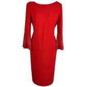 Joseph Ribkoff - 183006 Rood kleed met strass mouwen