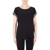 Joseph Ribkoff - T-Shirt bloes zwart met parels aan de mouwen