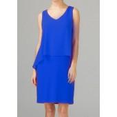 Joseph Ribkoff - 202398 Hoog blauw kleed zonder mouwen.