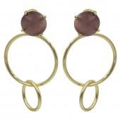 Like Jewellery - O1218 - oorbel - Gouden ringen met steen