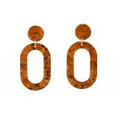 Like Jewellery - o3202 - Oorbel oranje nacré