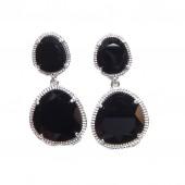 Like Jewellery - o3241- oorbel zwart zilver