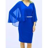 Frank Lyman - 199293 Hoog blauw kleed voile mouwen.