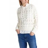 Marccain Sports - PS 41 08 M84 Pull off-white kabeltrui met gaten.