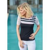 Passioni - Shirt - 9282 - zwart wit rose kant