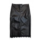 Relish - Longuette Golnar zwarte rok fake leder