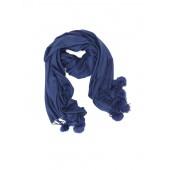 Titto Cora sjaal - Dark blue - marine met ponpons