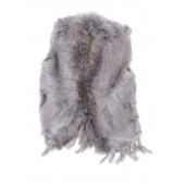 Titto Violet - Grijs bont jasje zonder mouwen