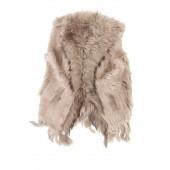 Titto Violet - Taupe beige bont jasje zonder mouwen