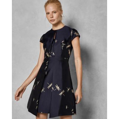 Ted Baker - ardene kleed blauw met gouden libellen