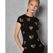 Ted Baker - marian T-shirt zwart mt gouden hartjes