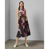 Ted Baker - Sofija luchtig kleed kaki roze camouflage print