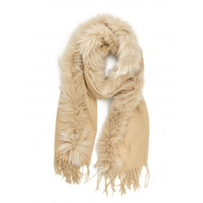 Titto - Zeerust grote beige (off-white) sjaal met bont - fox fur