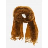 Titto - Zeerust grote bruine sjaal met bont - fox fur