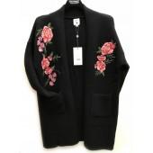 Yumi - Gilet YK000803 zwart met rode bloemen